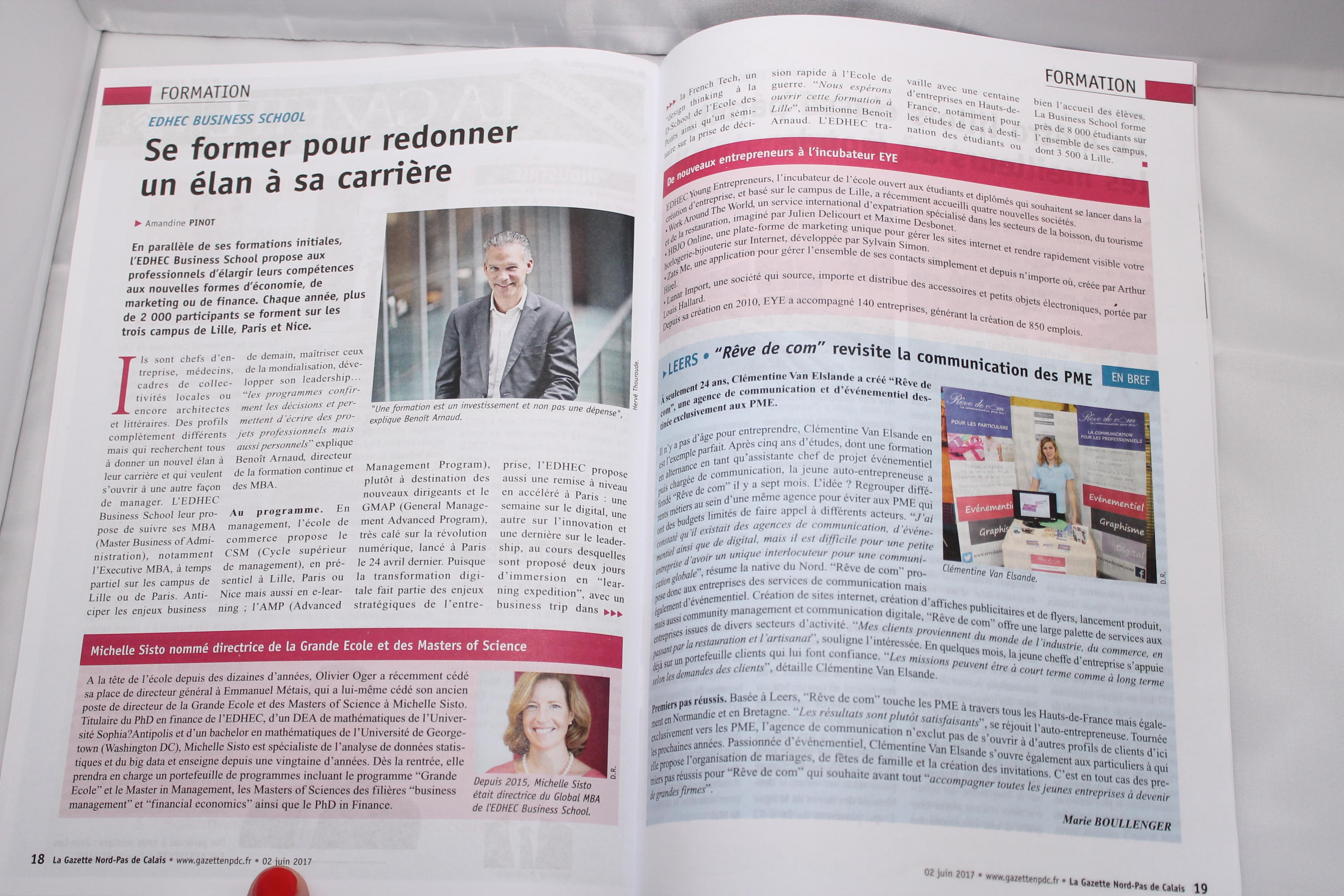 La Gazette Nord Pas de Calais et Rêve de com